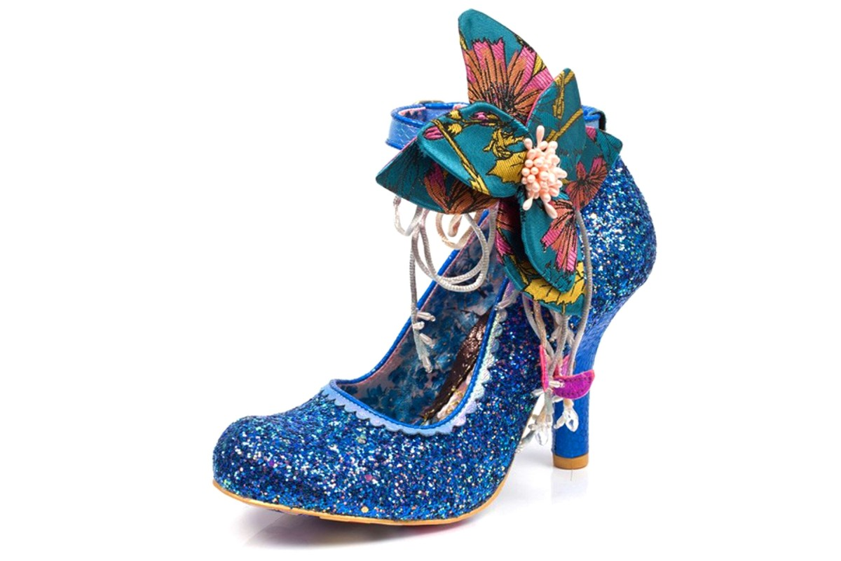 Irregular Choice Sweet Melody Blue Glitter Flower Ankle Strap High Heel Shoes
