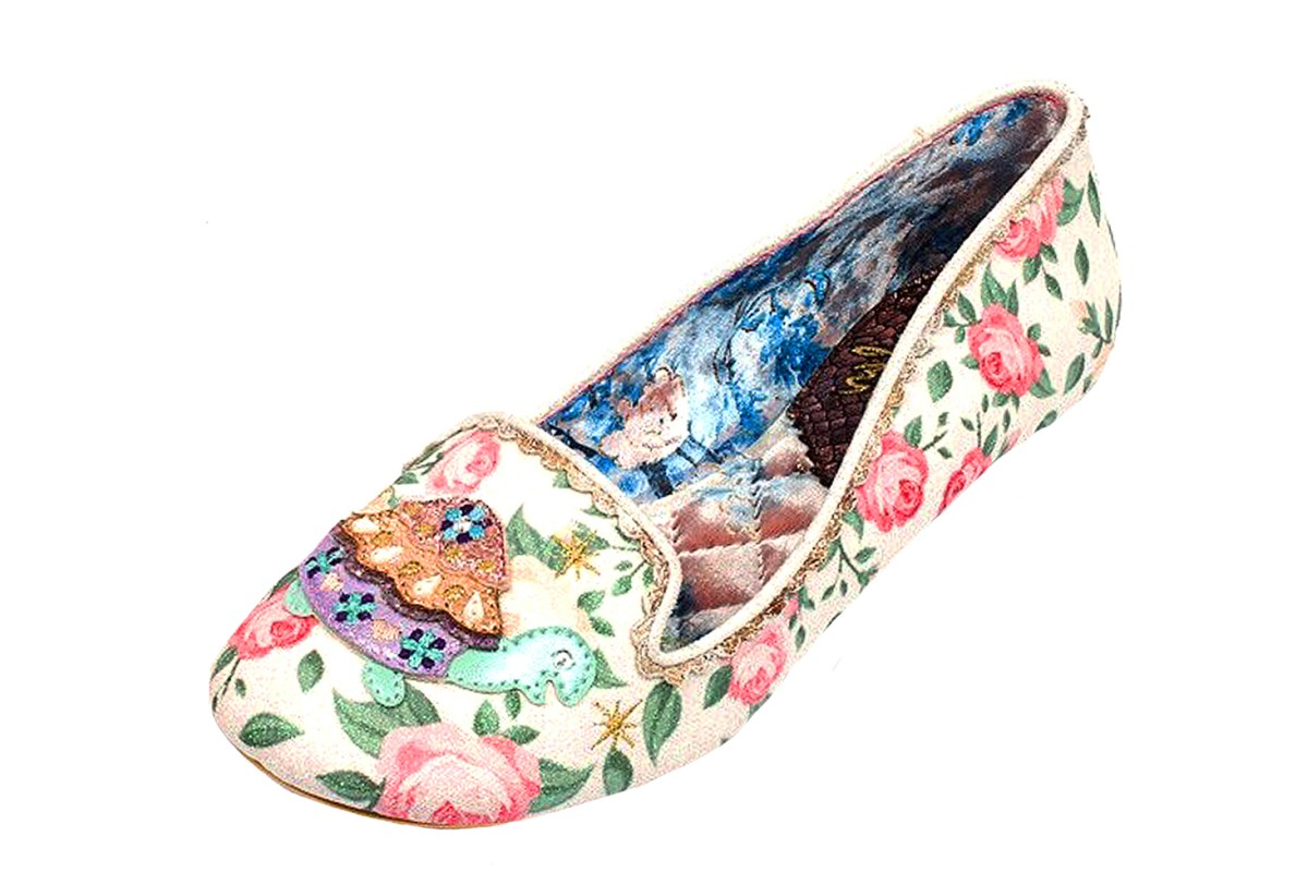 Irregular Choice Tetsudo Cream Floral Print Glitter Turtle Flat Ballet Shoes