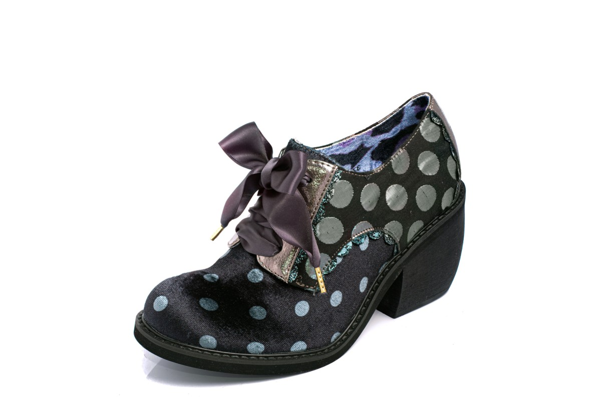 Irregular Choice Tipple Silver Black Velvet Polka Dot Lace Up Block Heel Shoes