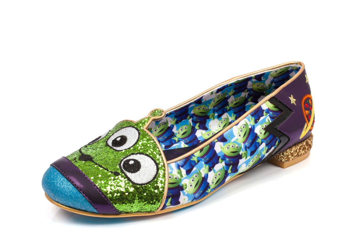 Irregular Choice Toy Story Eternally Grateful Green Blue Purple Alien Low Heel Ballet Shoes