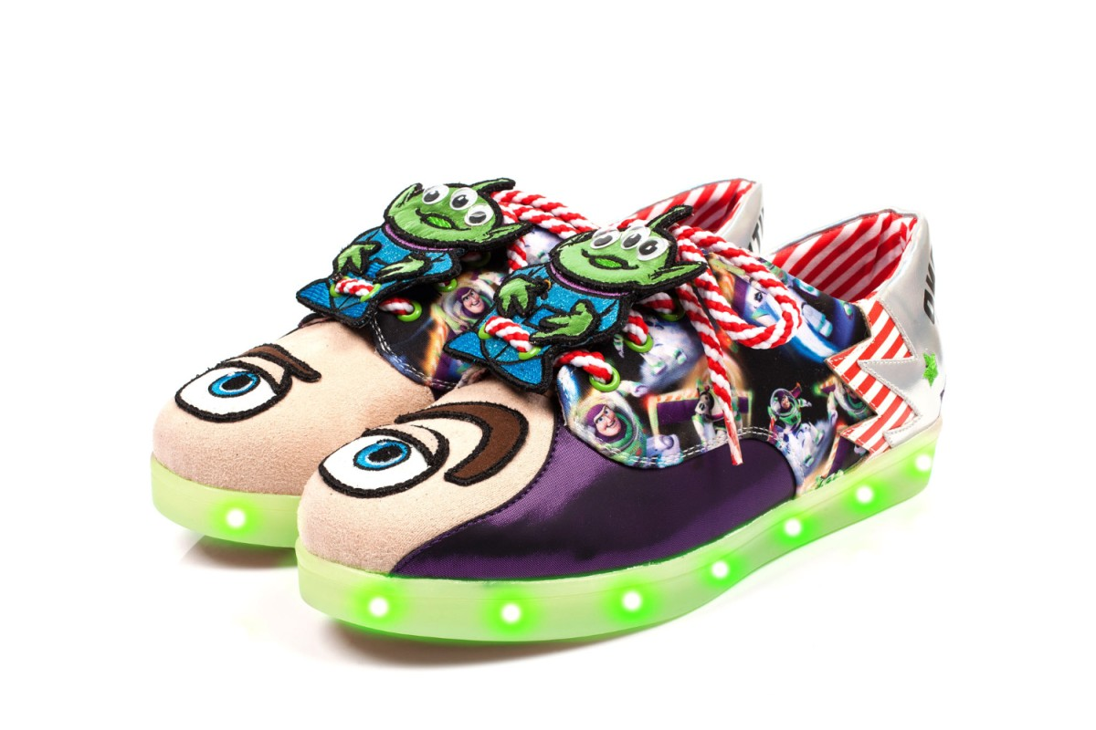 Irregular Choice Toy Story I Have Been Chosen Blue Silver Buzz Lightyear Alien Light Up Trainers