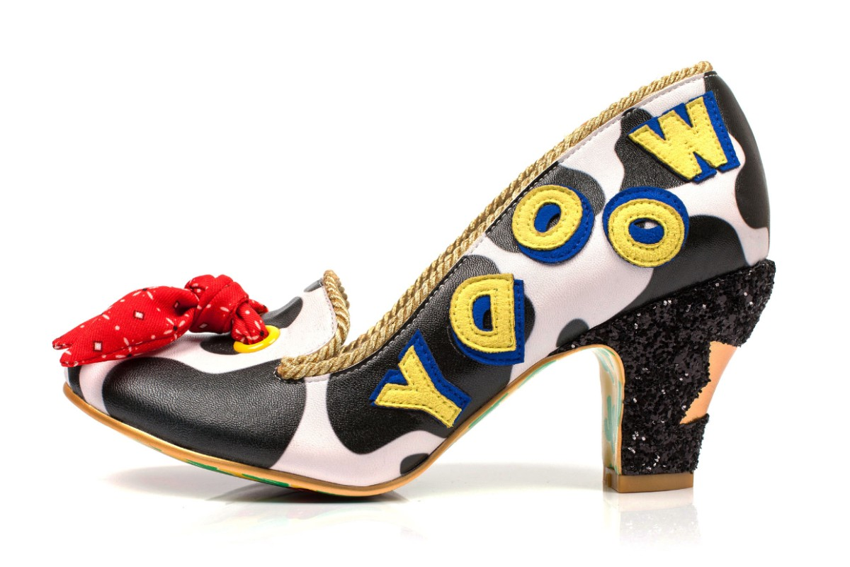 bf98c912a43 Irregular Choice Toy Story Reach For The Sky Black White Cow Print Woody  Glitter Mid Heel Shoes - KissShoe