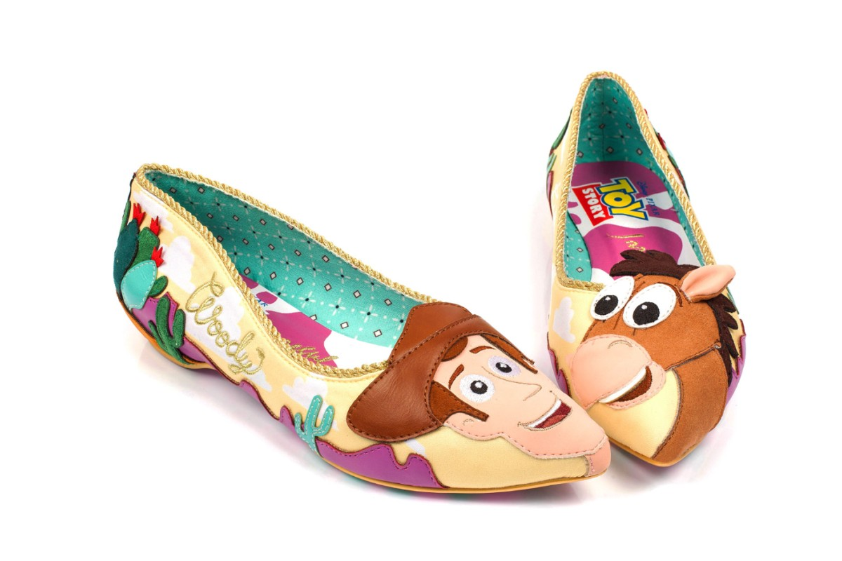 Irregular Choice Toy Story Round Up Gang Yellow Pink Bullseye Woody Low Heel Ballet Shoes