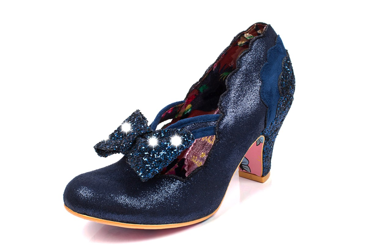 Irregular Choice Twinkle Blue Navy Glitter Light Up Mid Heel Court Shoes