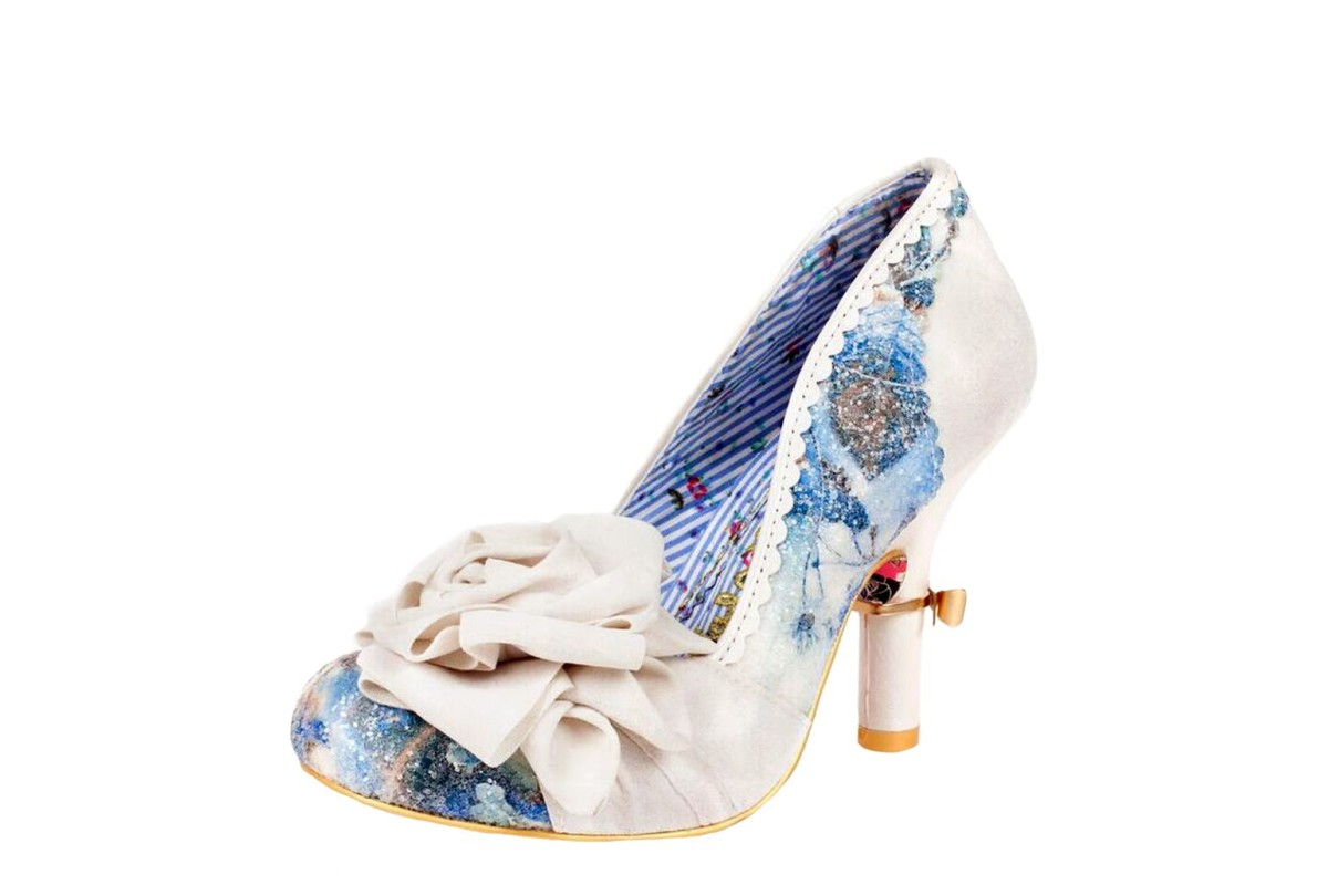 Irregular Choice Washington Cream Flower High Heel Court Shoes
