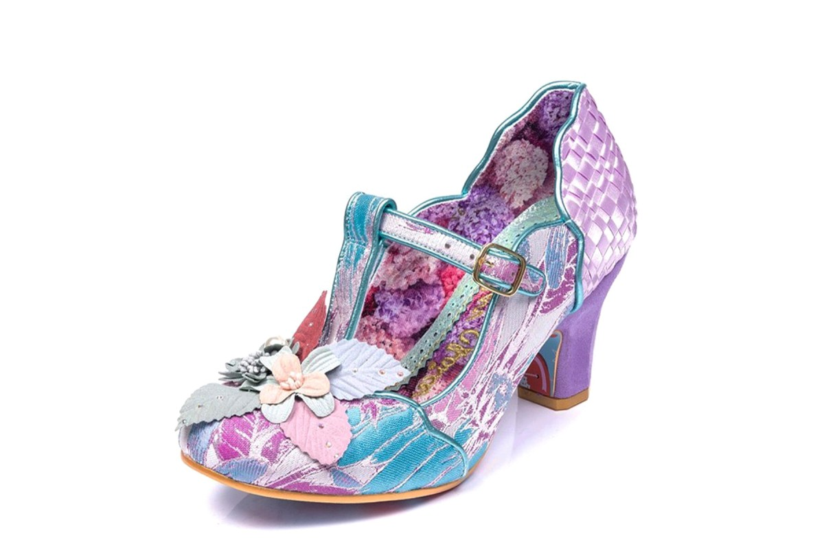 Irregular Choice Windermere Light Purple Blue Floral T Strap Mid Heel Shoes