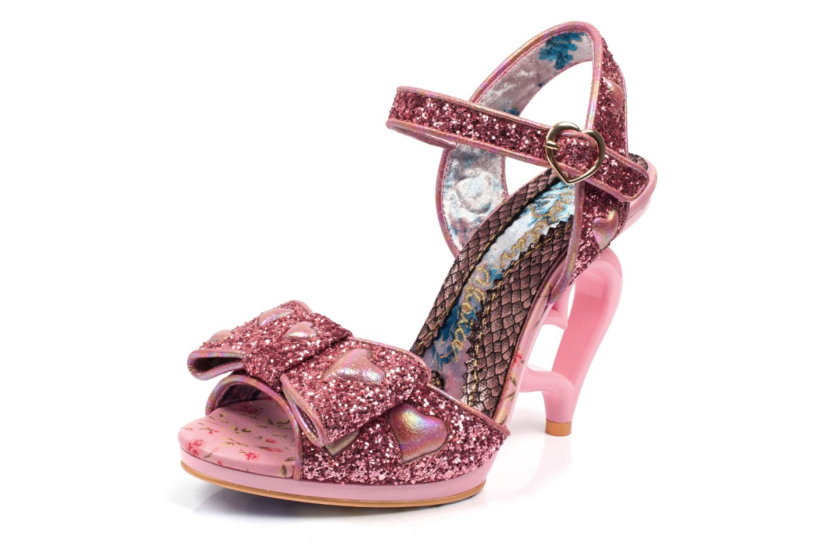 Irregular Choice With Love Pink Glitter Heart High Heel Open Toe Sandals