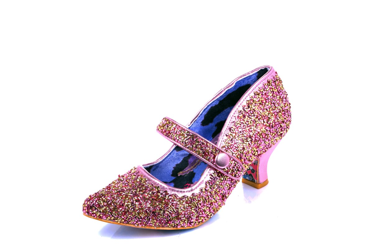 Irregular Choice Zillion Sprinkles Pink Glitter Mid Heel Mary Jane Shoes