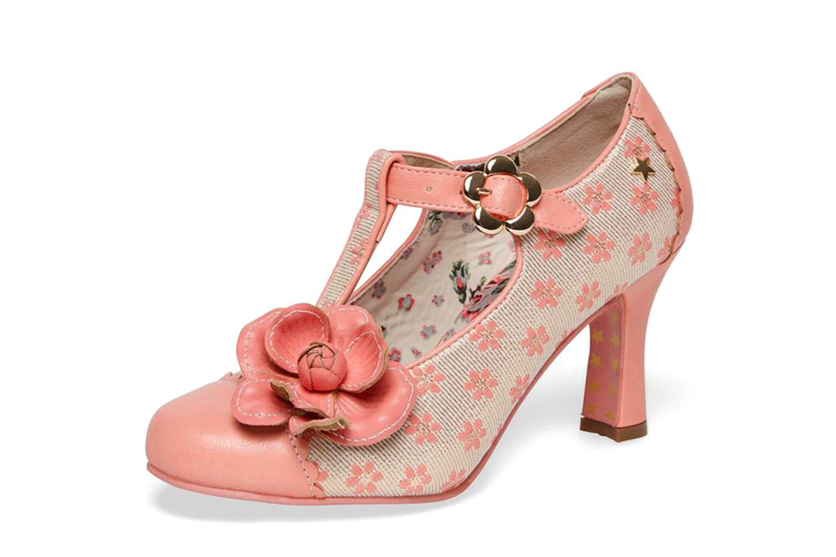 Joe Browns Cecelia Peach Gold Floral T Bar High Heel Shoes