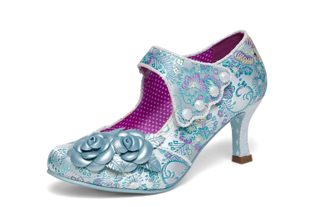 Joe Browns Charlotte Blue Floral Embroidered High Heel Mary Jane Shoes