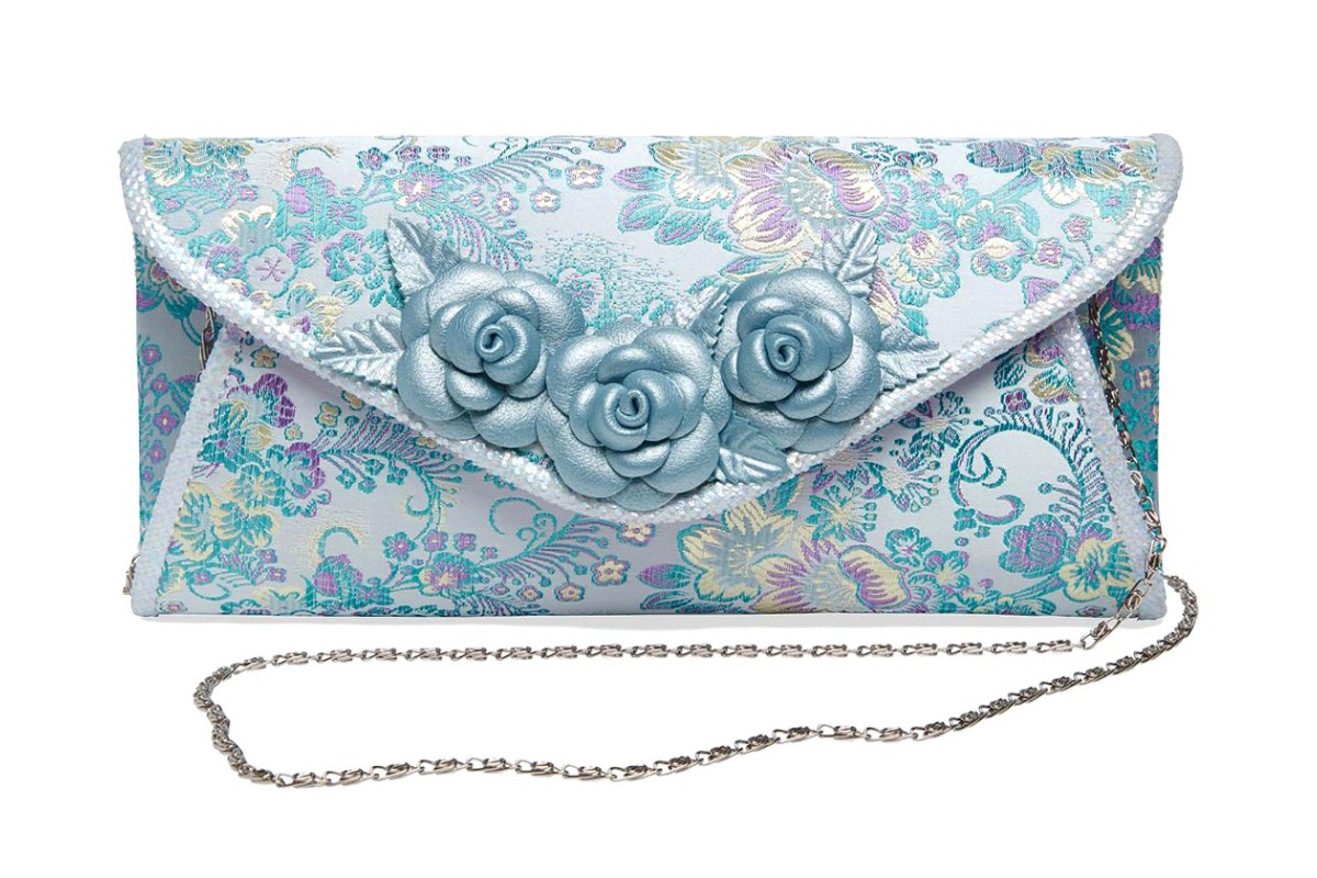 Joe Browns Charlotte Light Blue Floral Embroidered Clutch Shoulder Bag