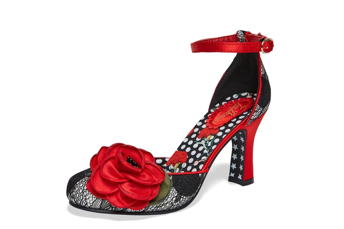 Joe Browns Cordelia Black Lace Red Poppy Flower Ankle Strap High Heel Shoes