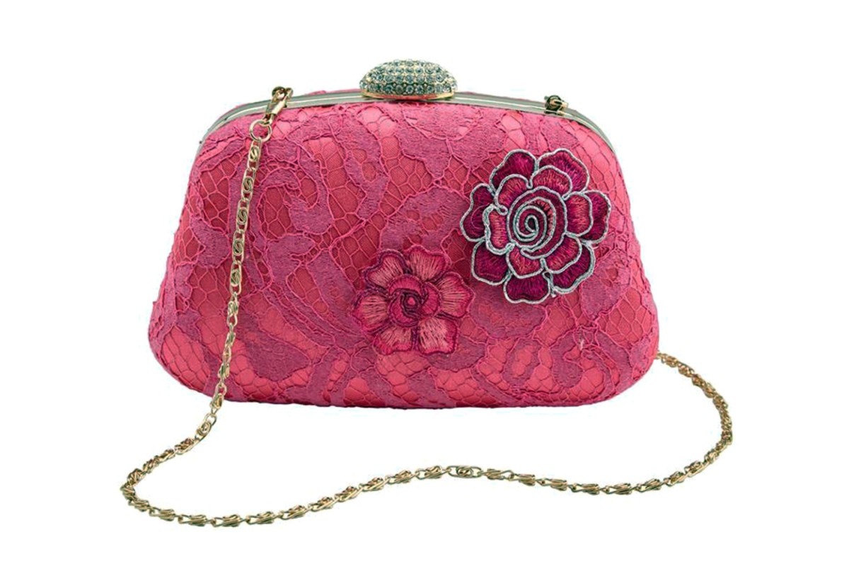 Joe Browns Floozie Hot Pink Lace Hard Case Clutch Bag