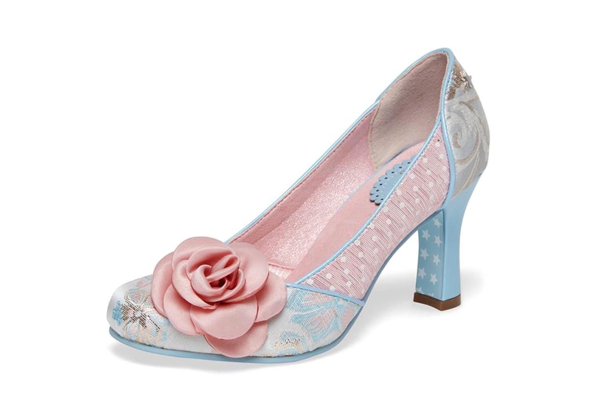 13d73ab5a84 Joe Browns Isabella Natural Pink Blue Floral High Heel Court Shoes