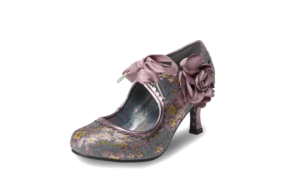Joe Browns Orla Grey Lilac Floral Tweed High Heel Lace Up Shoes