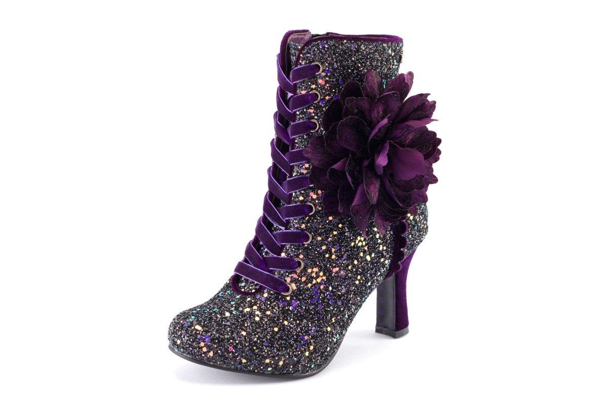 Joe Browns Rebel Burgundy Purple Glitter Velvet Lace Up High Heel Ankle Boots