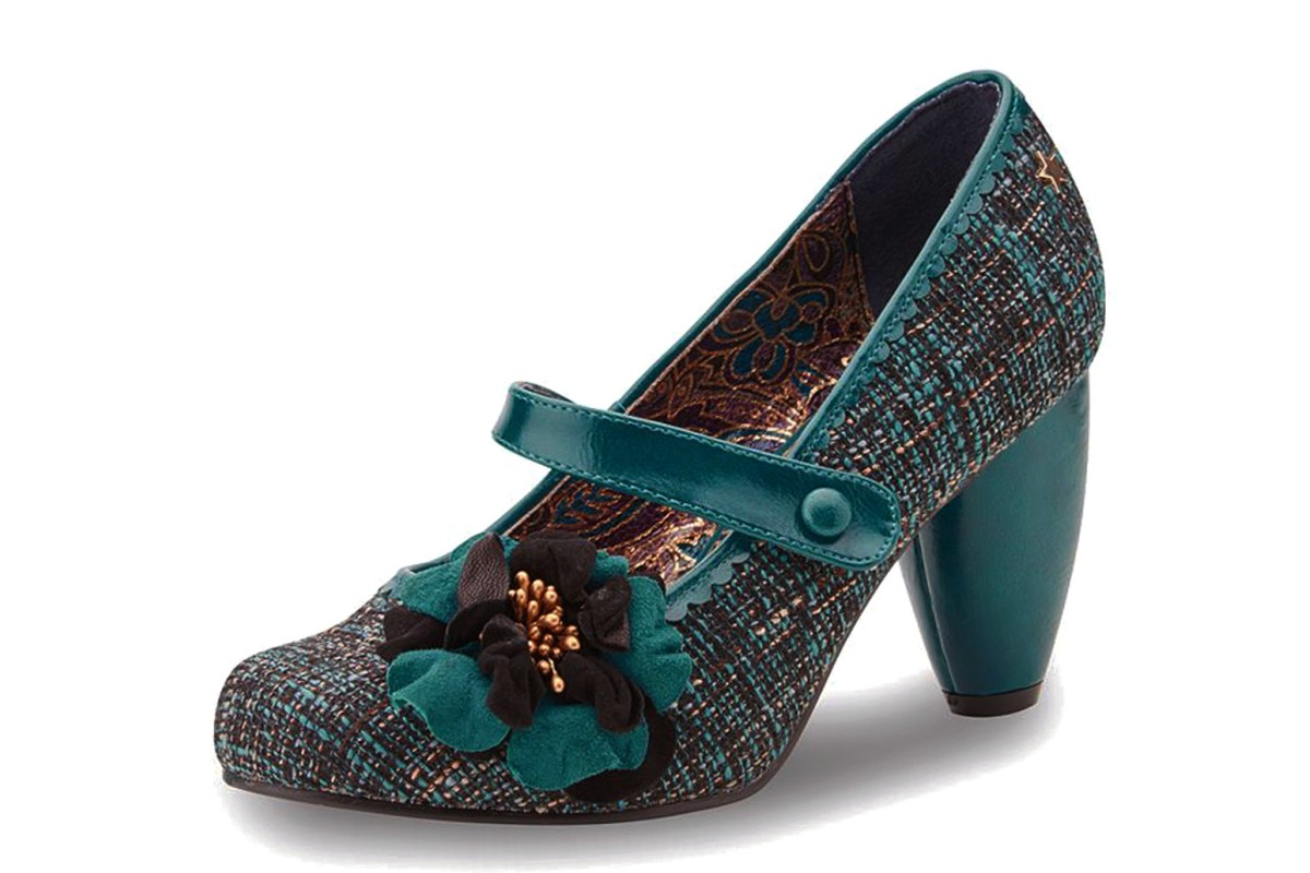 Joe Browns Rosalind Teal Tweed Vintage Style High Heel Mary Jane Shoes