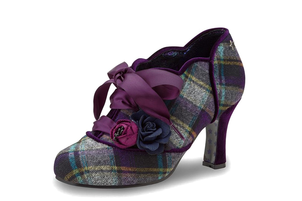 Joe Browns Yazabelle Purple Tartan Checked Lace Up High Heel Shoes