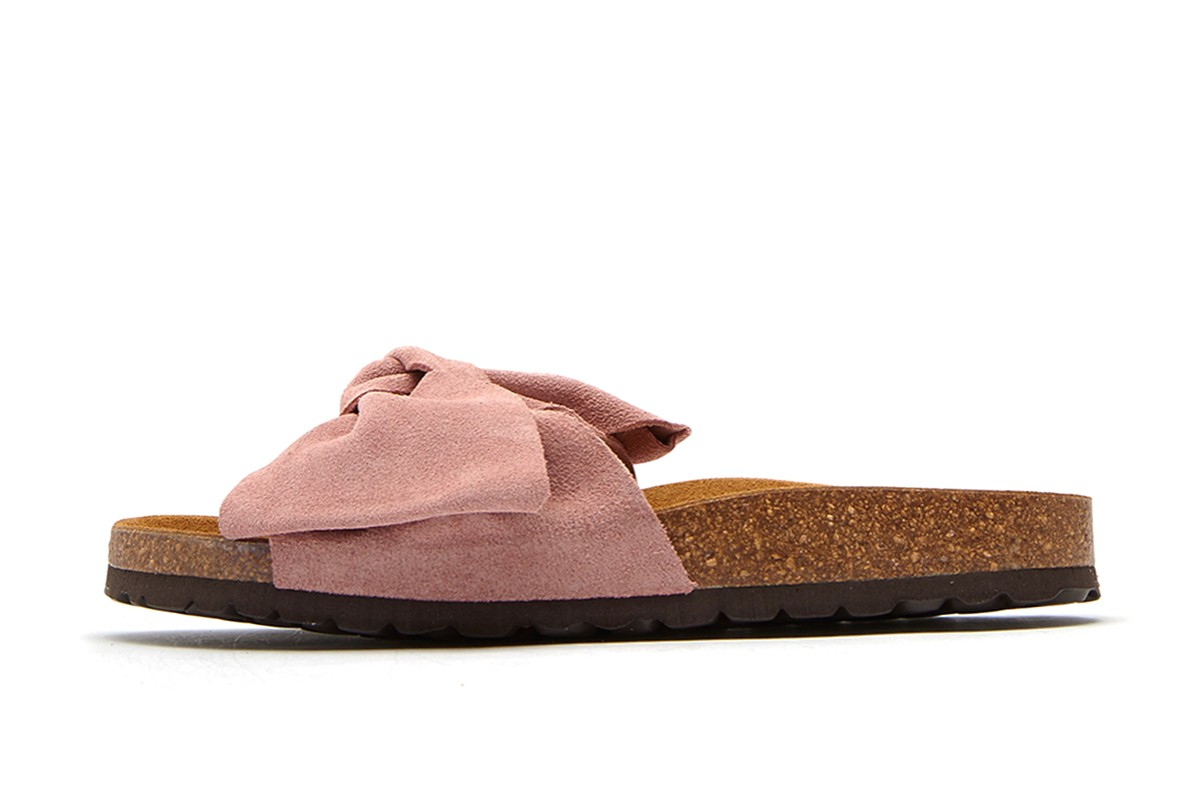 Joules Bayside Soft Pink Suede Bow Slides Flat Sandals