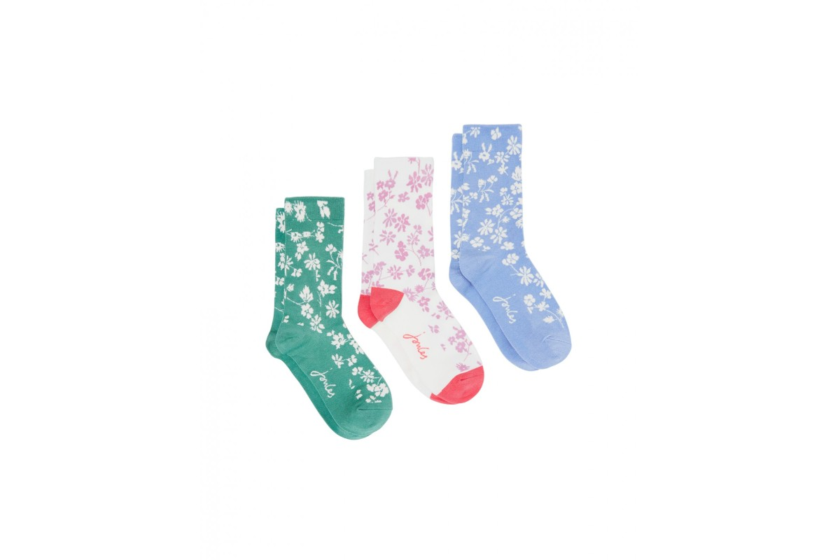 Joules Brilliant Bamboo Ditsy Floral 3 Pack Cream Green Blue Women's Socks