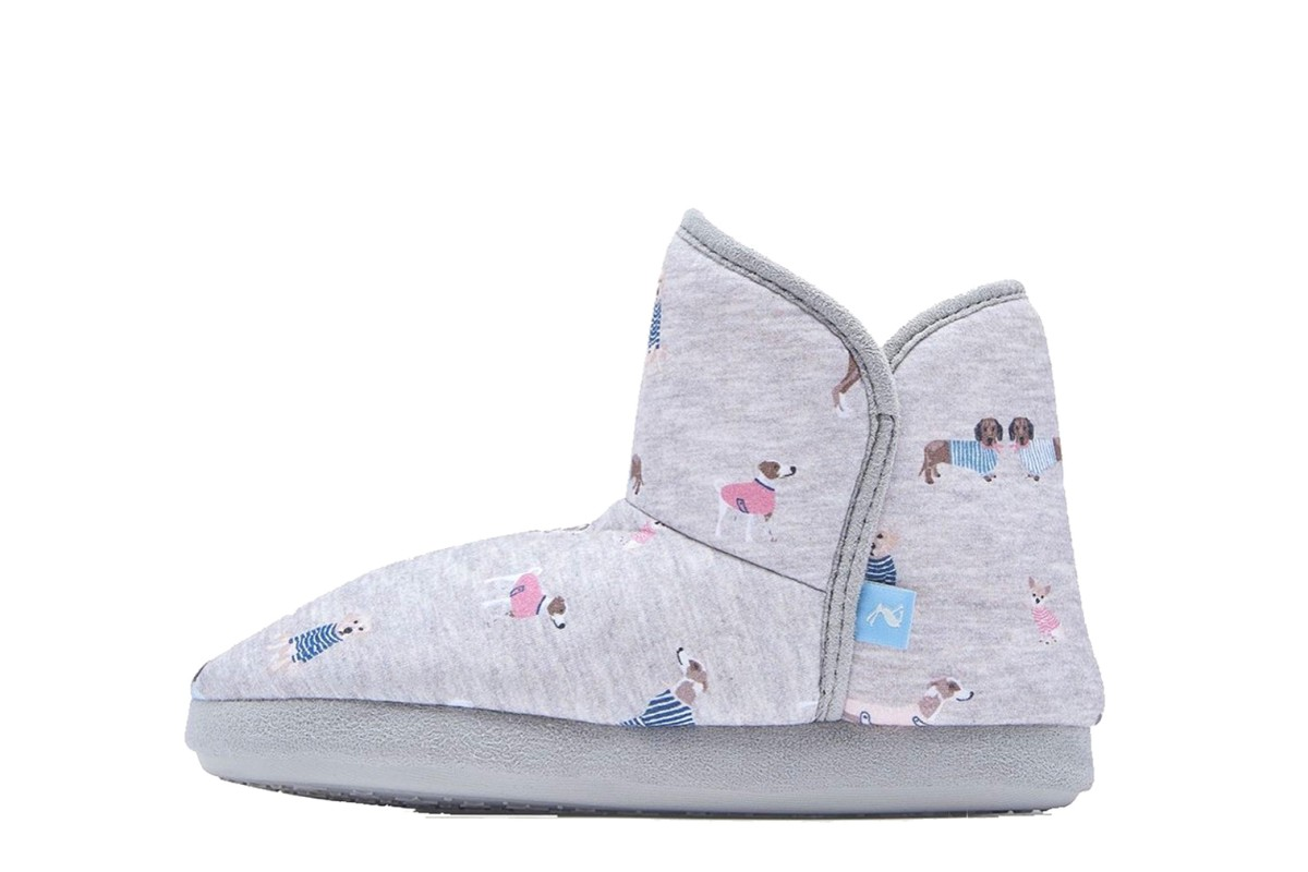 Joules Cabin Grey All Over Dogs Printed Slippers Boots
