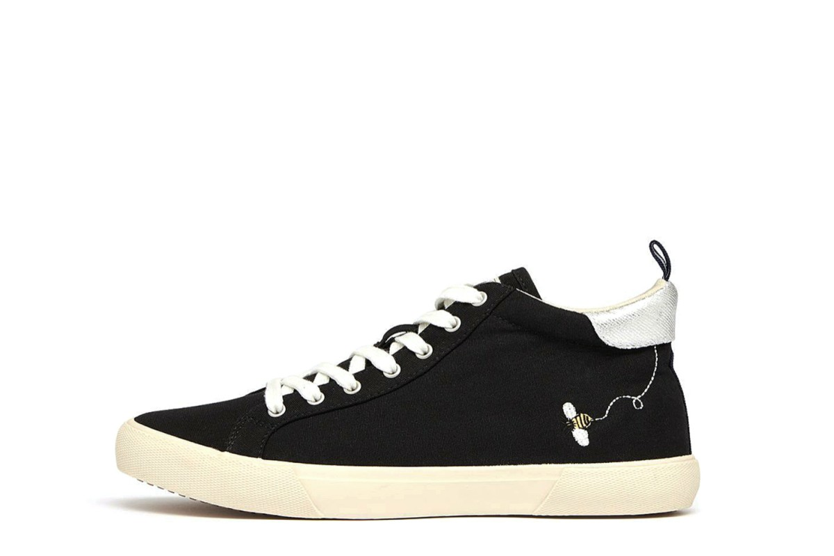Joules Coast Pump Mid Black Canvas High Top Bumble Bee Trainers