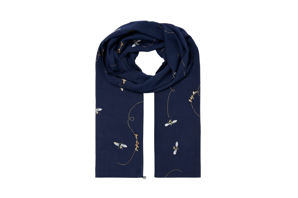 Joules Conway Navy Bee Print Lightweight Scarf