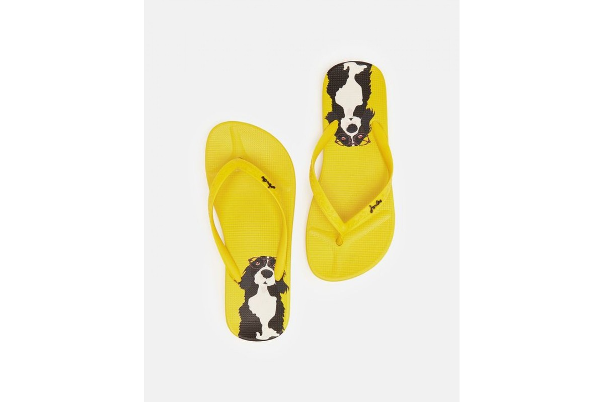 Joules Flip Flop Yellow Dog Print Flat Fashion Sandals