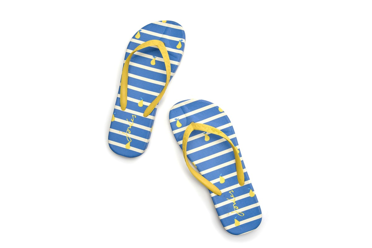 Joules Flip Flops Blue Yellow Pear Stripe Print