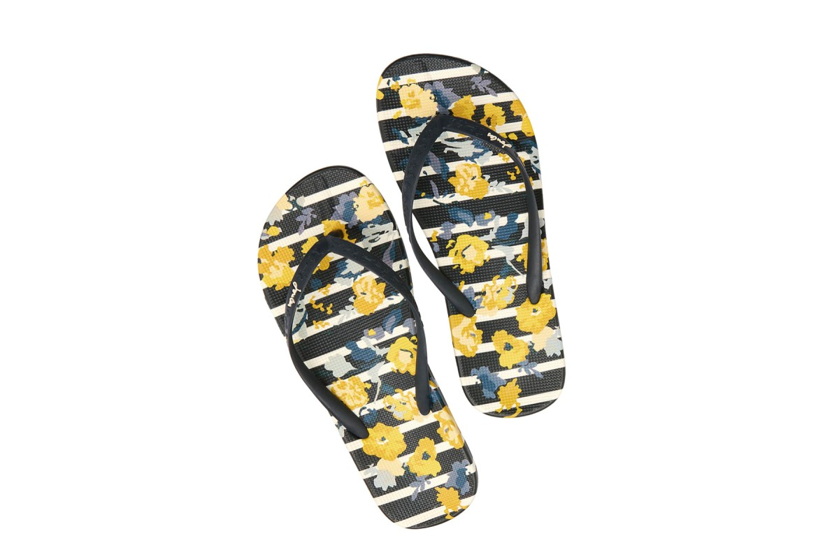 Joules Flip Flops Navy Yellow Floral Stripe Flat Sandals