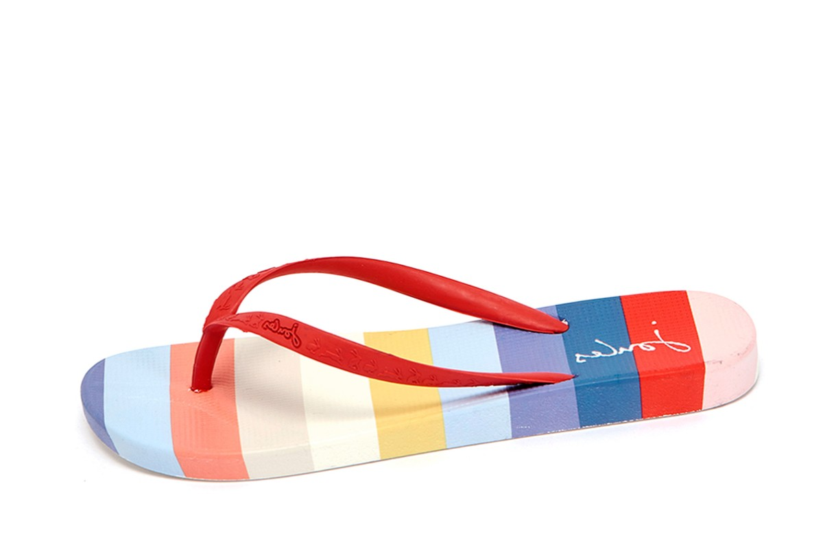 huge selection of new authentic authorized site Joules Flip Flops White Red Multi Stripe Print