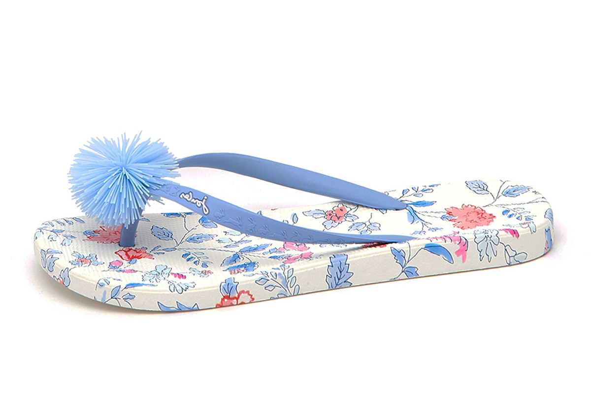 Joules Womens Sandy Flip Flops In Bright White Floral-UK 7 (EU 40)