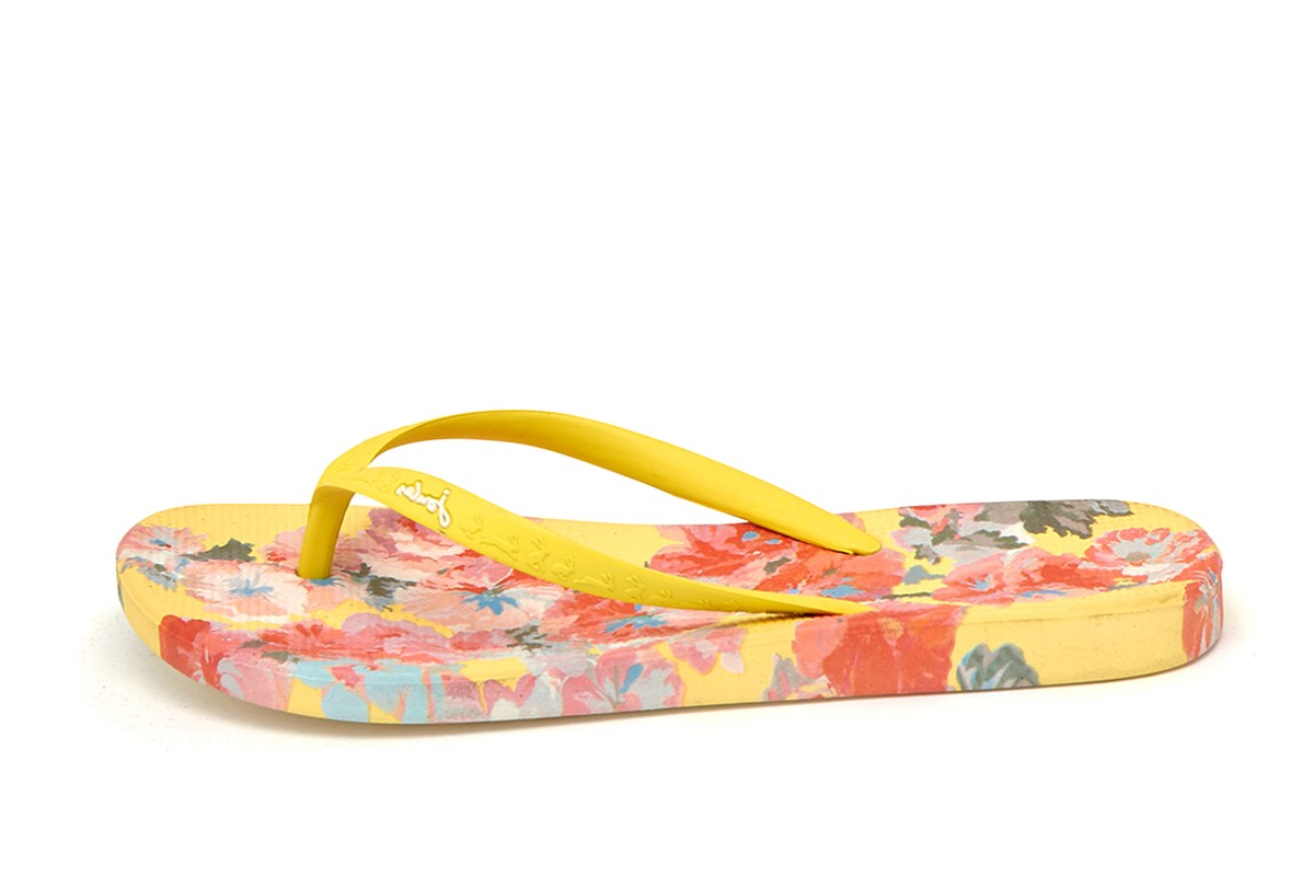 Joules Flip Flops Yellow Floral Print