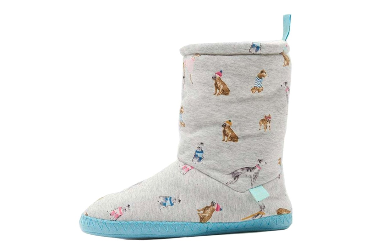 Joules Homestead Grey Marl Chic Dogs Women's Slippers Boots
