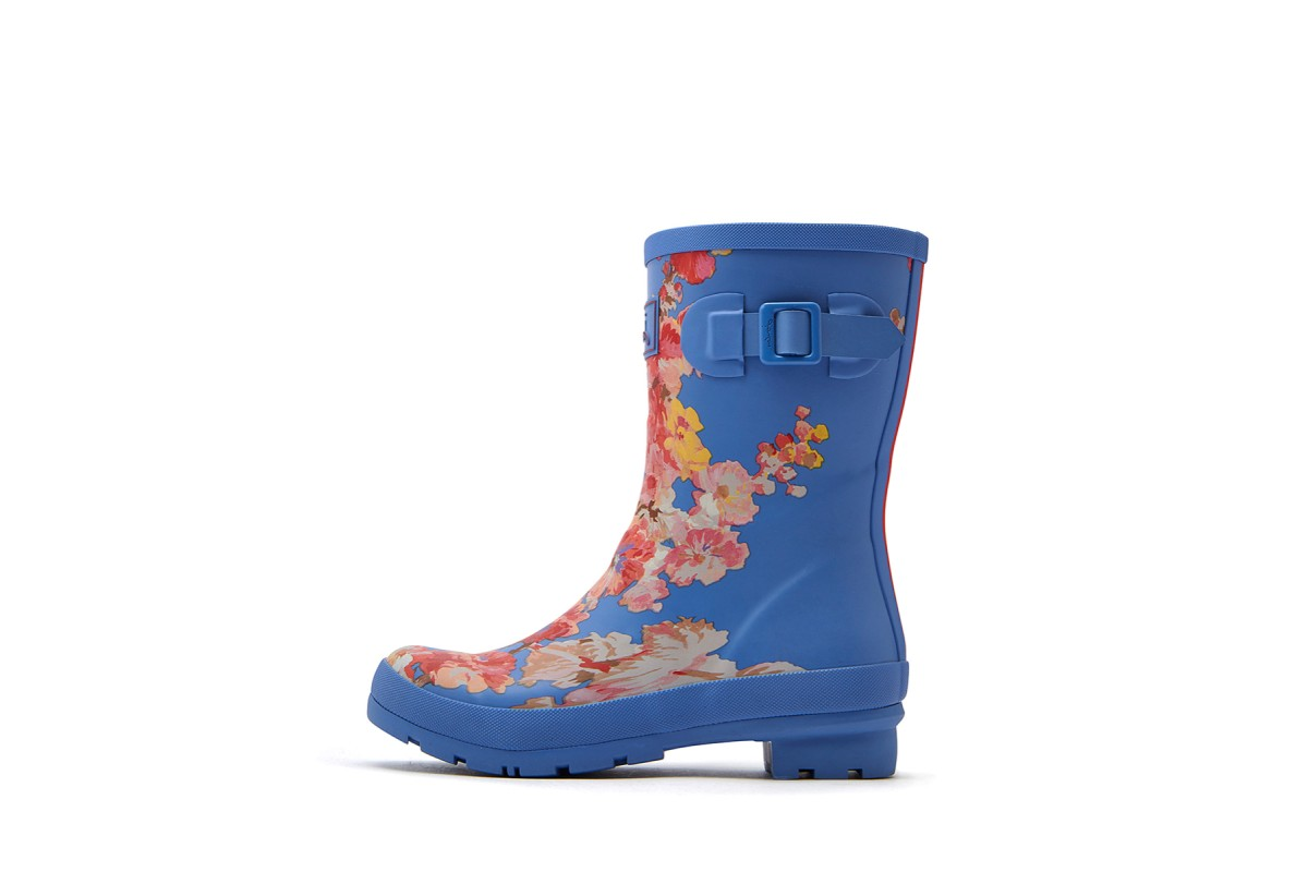 Joules Molly Welly Blue Floral Print Mid Height Wellies