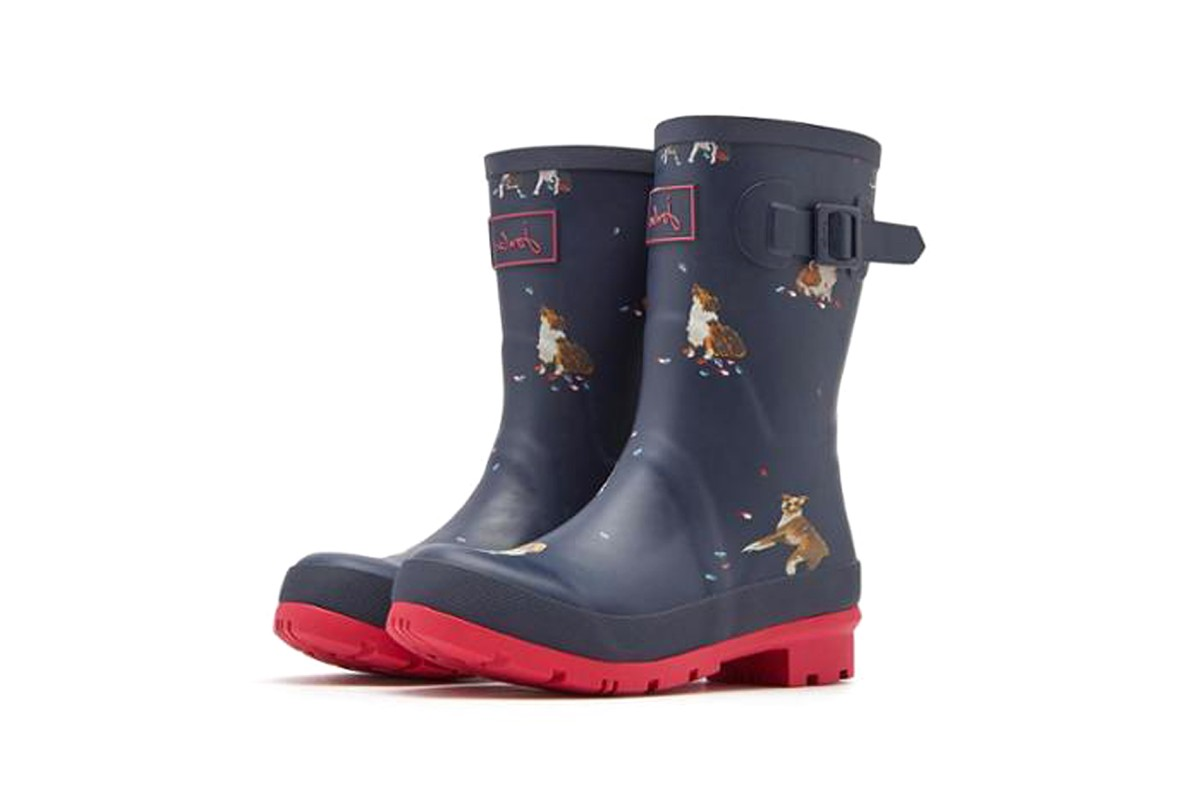 Joules Molly Welly French Navy Dogs In Leaves Womens Wellies