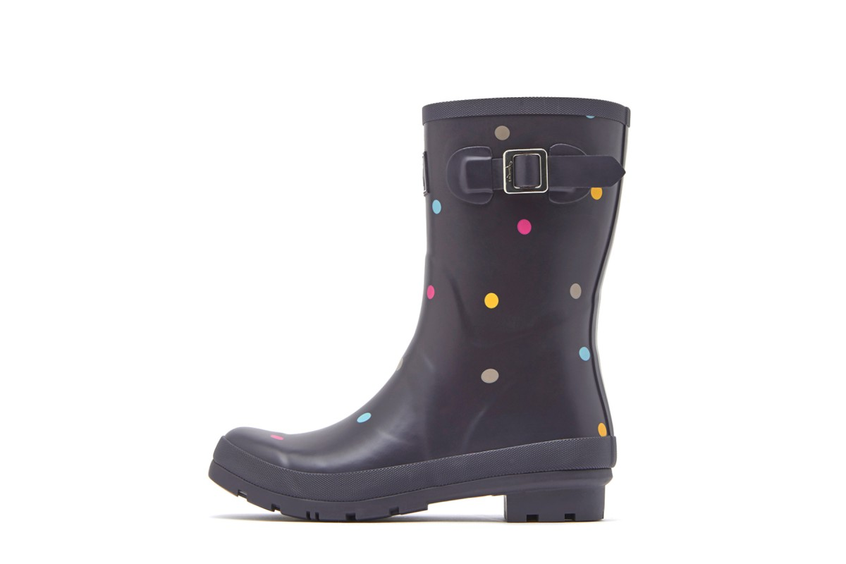 Joules Molly Welly Grey Kiki Spot Polka Dot Women's Short Wellies