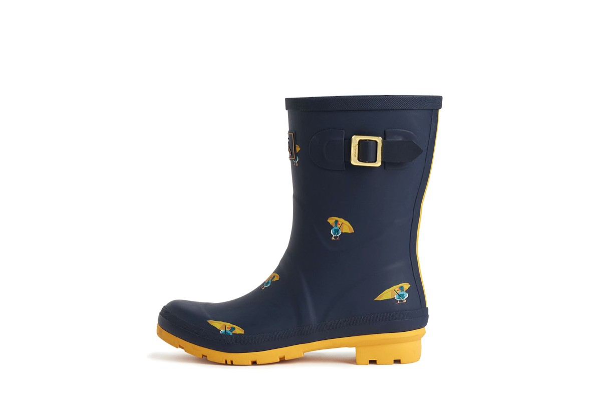 Joules Molly Welly Navy Ducks Womens Mid Height Wellies