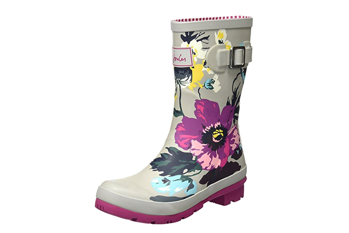 Joules Molly Welly Silver Posy Grey Purple Floral Print Women's Short Wellies