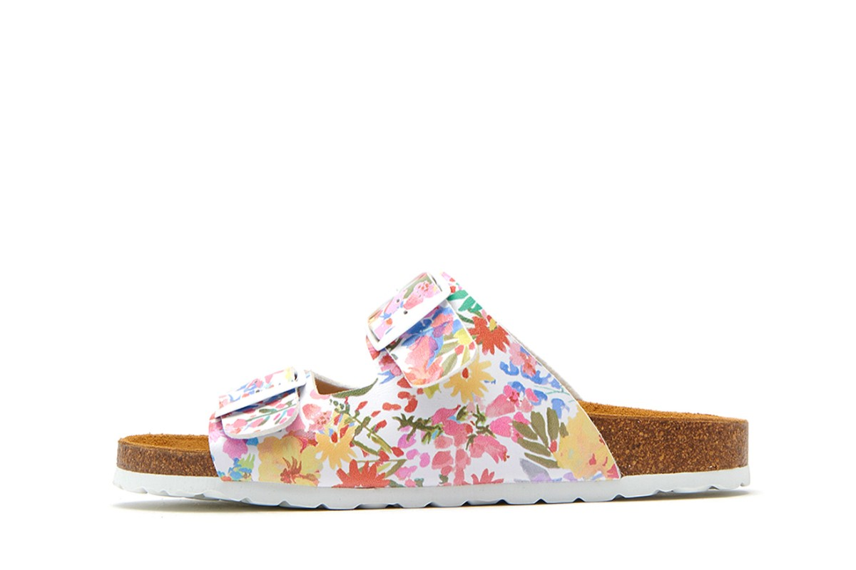 Joules Penley White Meadow Floral Printed Double Strap Slides Flat Sandals
