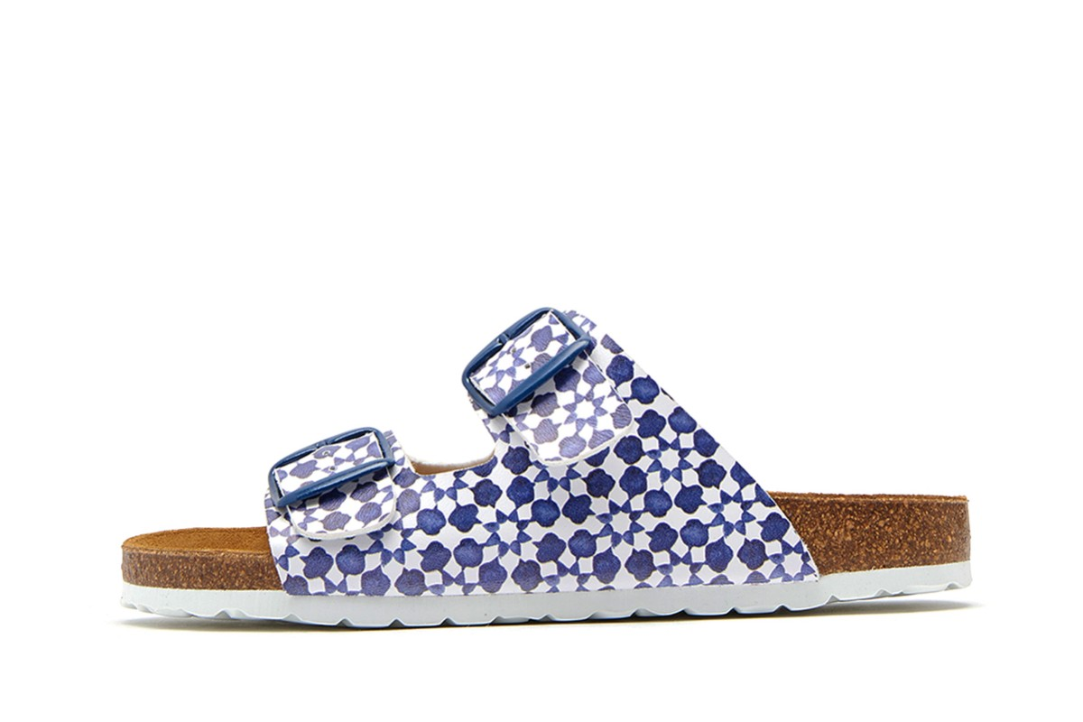 Joules Penley White Navy Geo Printed Double Strap Slides Flat Sandals