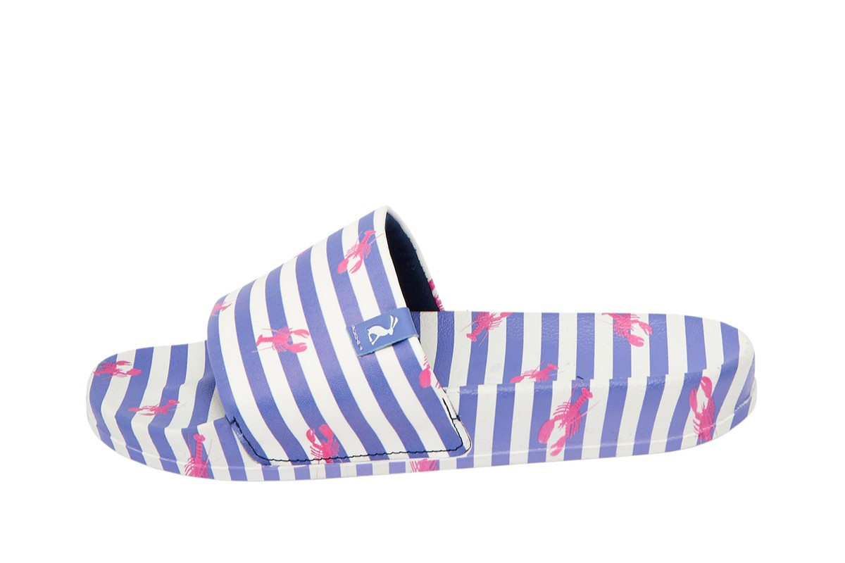 Joules Poolside Blue White Stripe Lobster Print Slides Flat Sandals