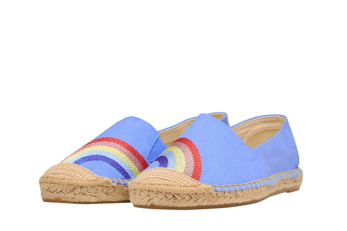 Joules Shelbury Blue Rainbow Embroidered Flat Espadrille Shoes