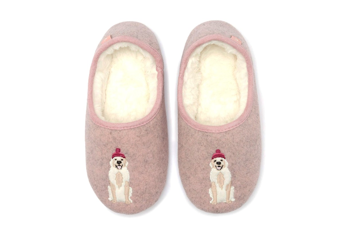 Joules Slippet Gold Dog Embroidered Pink Fur Lined Ballet Slippers