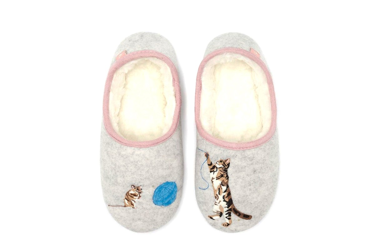 Joules Slippet Grey Cat Mouse Embroidered Fur Lined Ballet Slippers