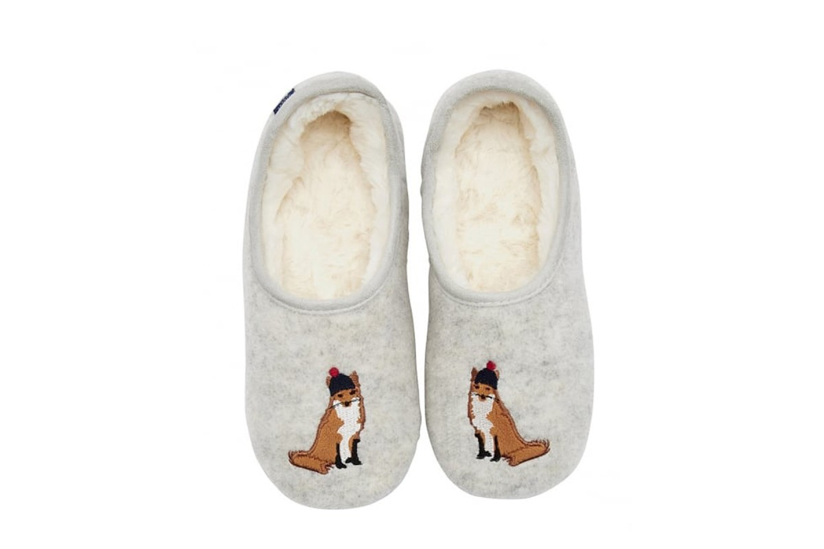 Joules Slippets Cream Grey Marl Fox Womens Slippers