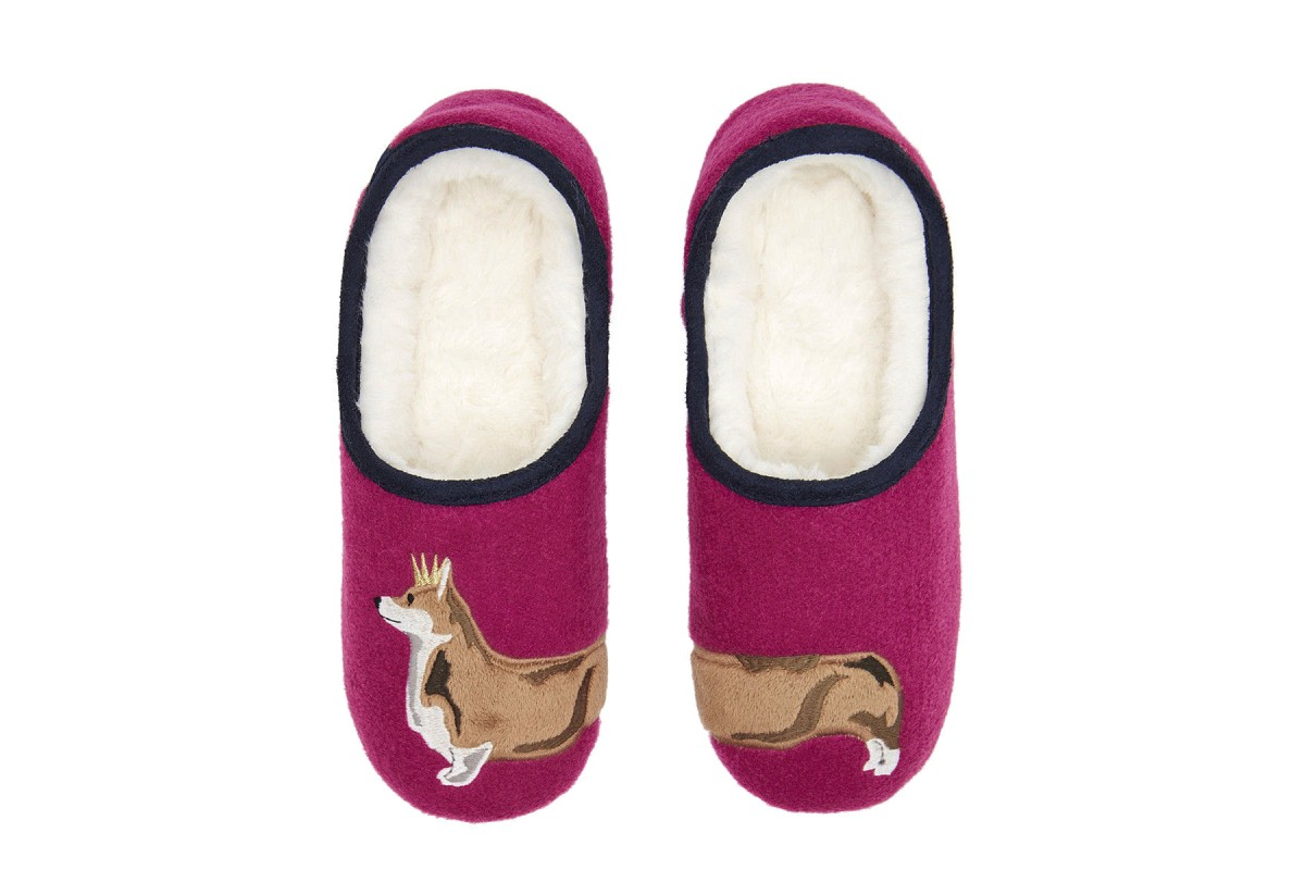Joules Slippets Pink Dog Embroidered Fur Lined Slippers