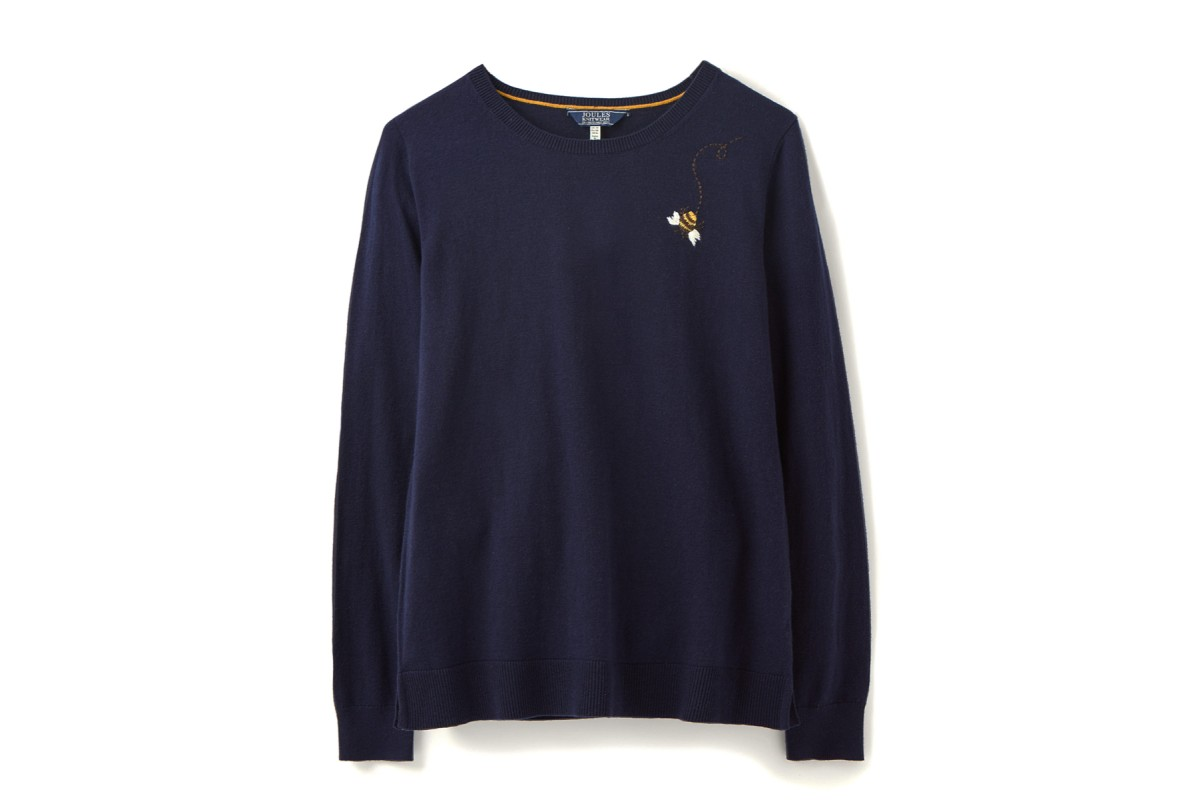 Joules Tina Crew Neck Jumper Navy Embroidered Bee