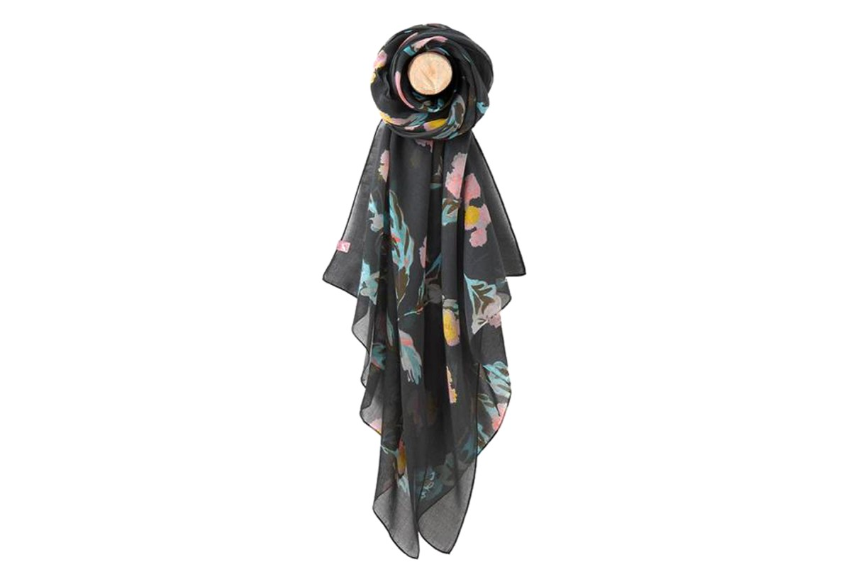 Joules Wensley Black All Over Floral Print Scarf