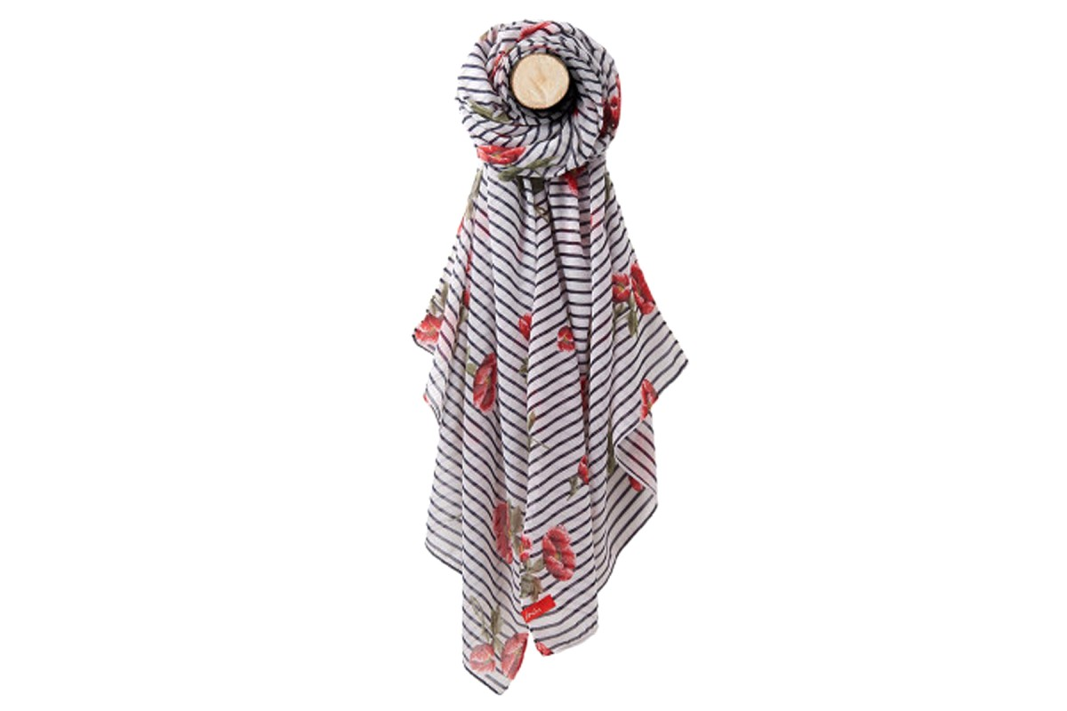 Joules Wensley Navy White Floral Stripe Poppy Scarf